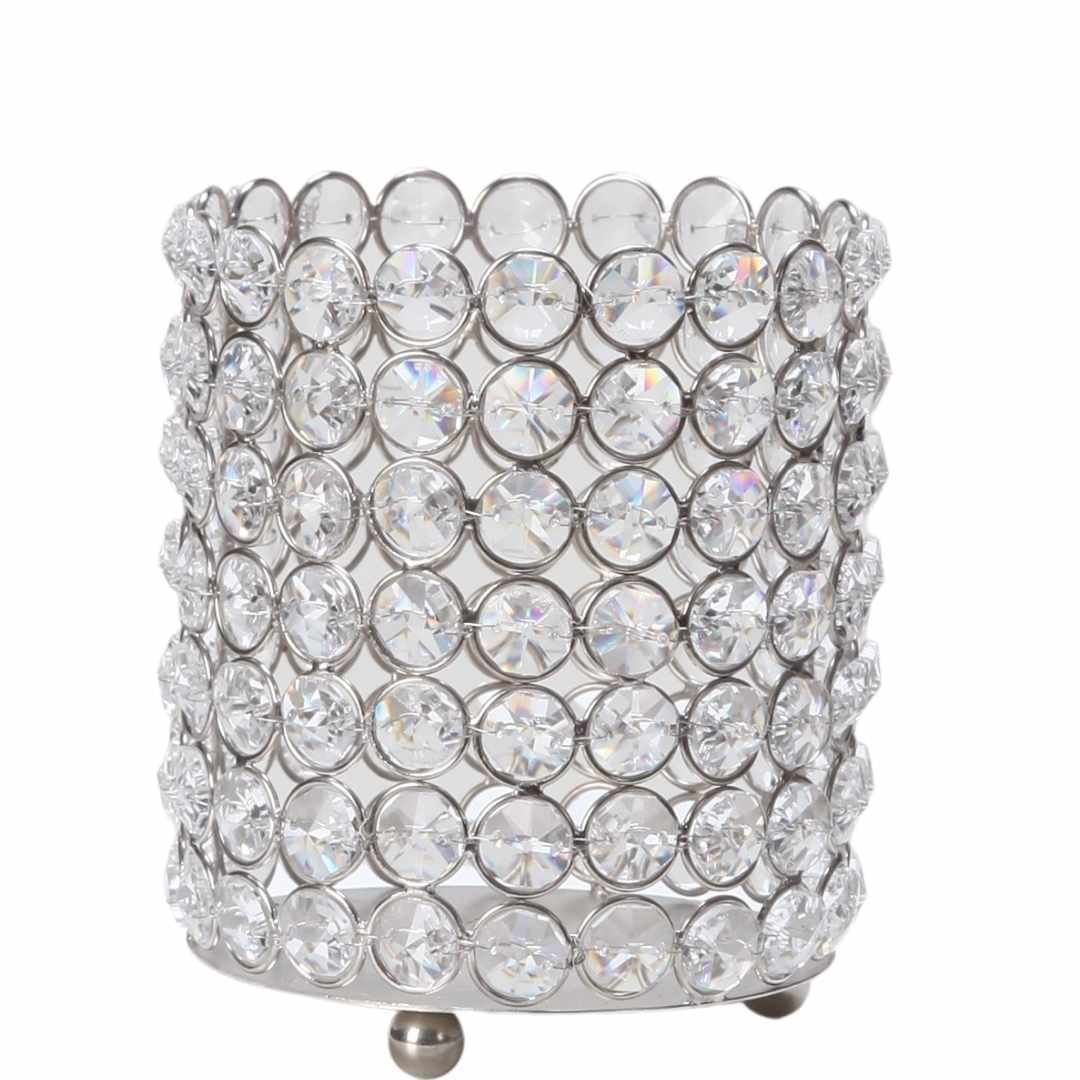 event decor rental gem crystal diamond silver candle wedding centerpiece