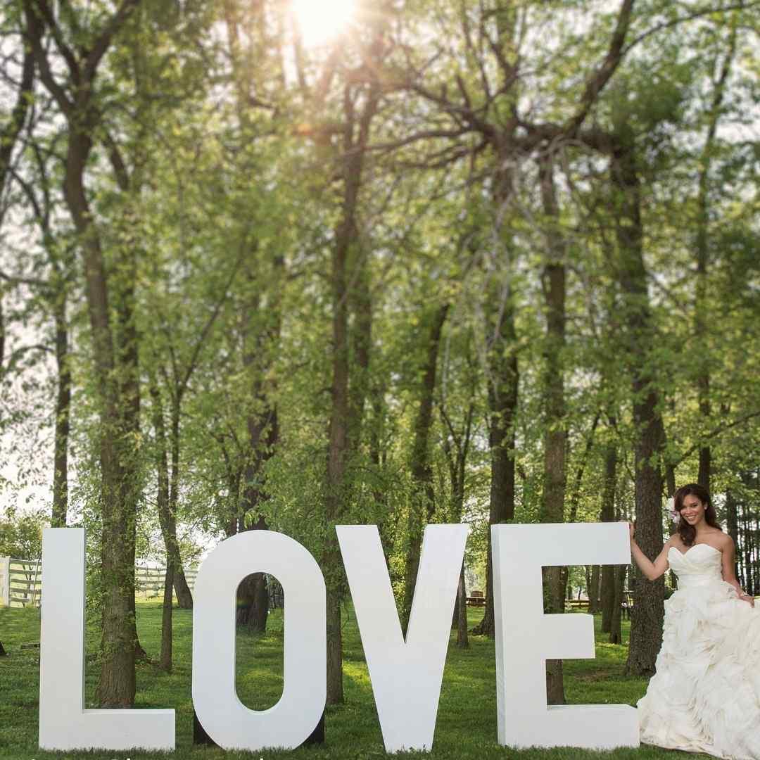 event decor rental white letter oversized tall wedding reception backdrop
