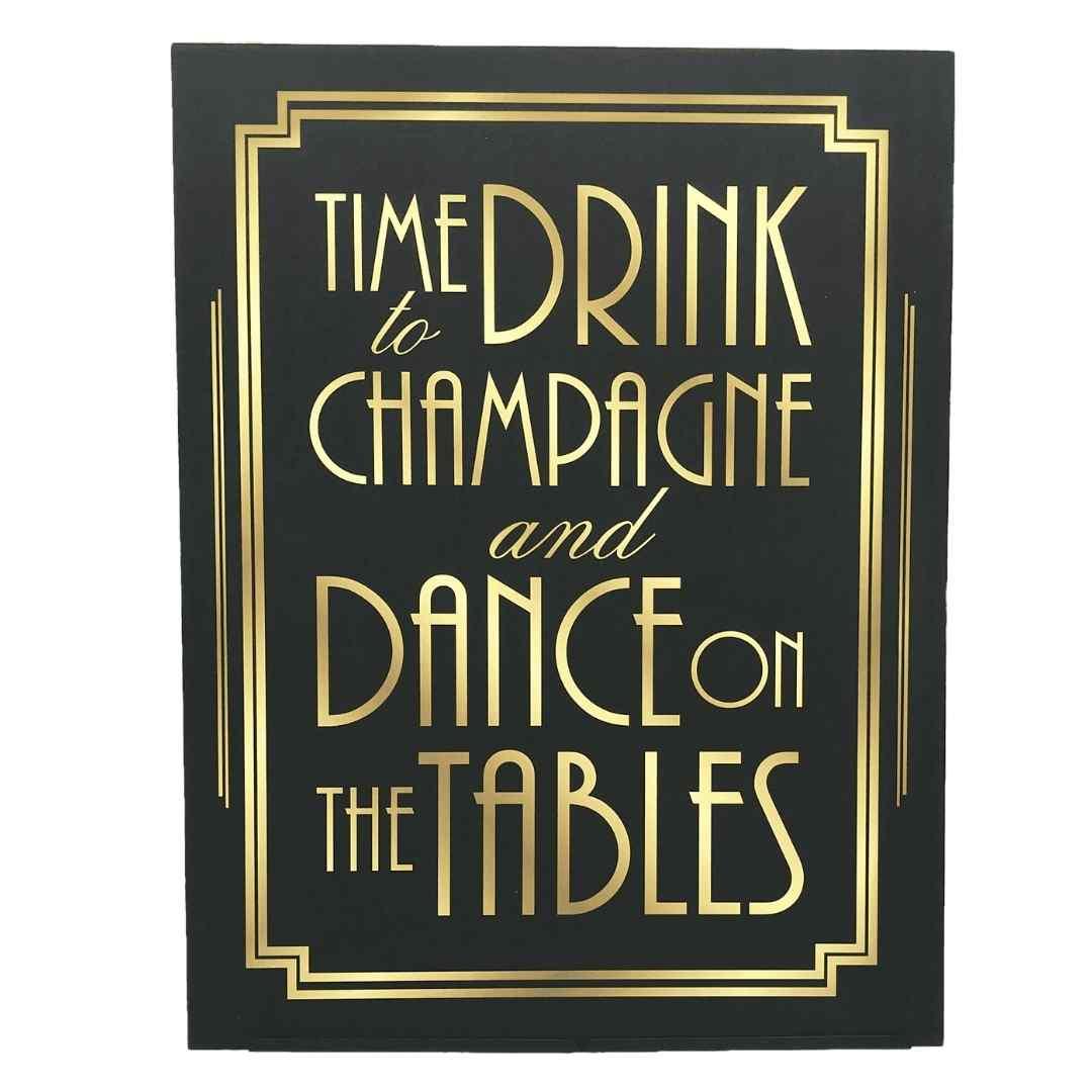 event decor rental roaring prohibition giggle water cocktails signage wedding reception gold black