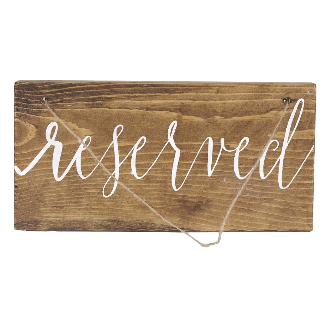 event decor rental wood rustic signage wedding ceremony chair hang