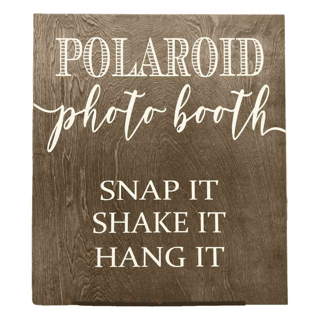event decor rental stained rustic photo booth signage wedding reception