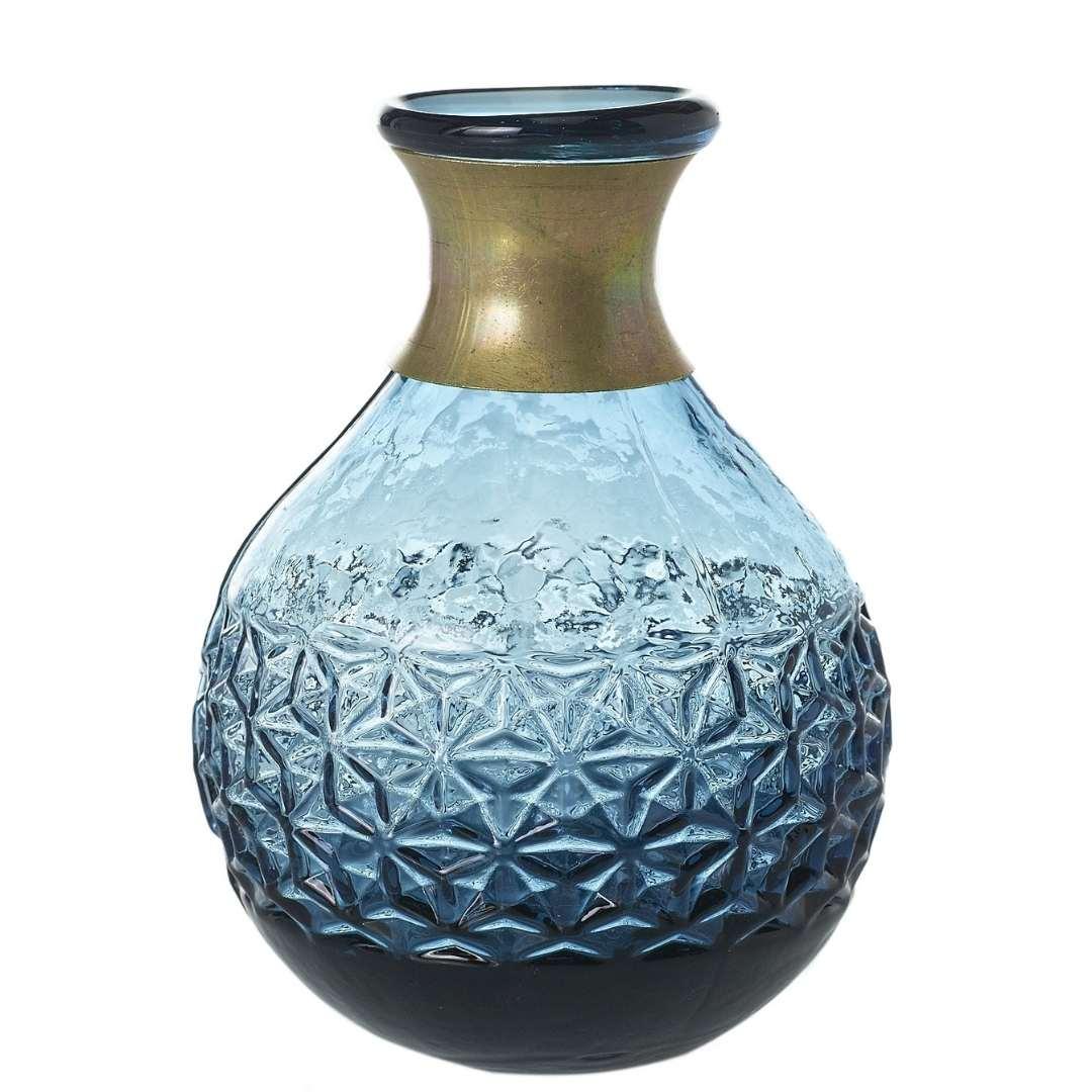 event decor rental blue cobalt vase flower floral gold wedding centerpiece