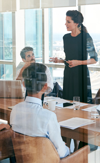a woman speaking at a meeting to depict organizational capabilities