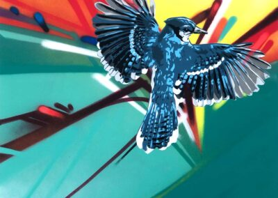 Spray paint and stencil image of a Blue Jay by Don't Panic
