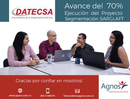 Avance del 70% Ejecución del proyecto Segmentación SARGLAFT