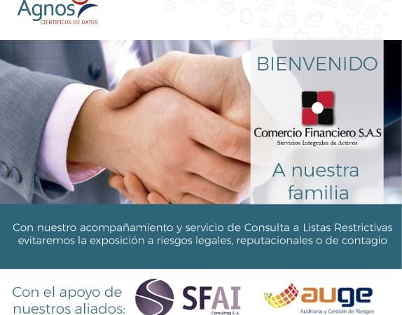 Bienvenida la empresa Comercio Financiero a nuestra compañía.