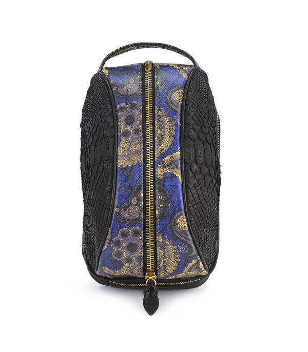 Amenity-Python-Amenity Blue Embossed Suede Paisley Dopp Kit