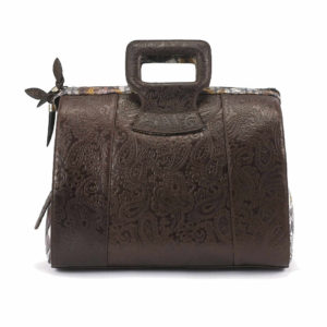 Ganesh Brown Embossed Paisley Leather