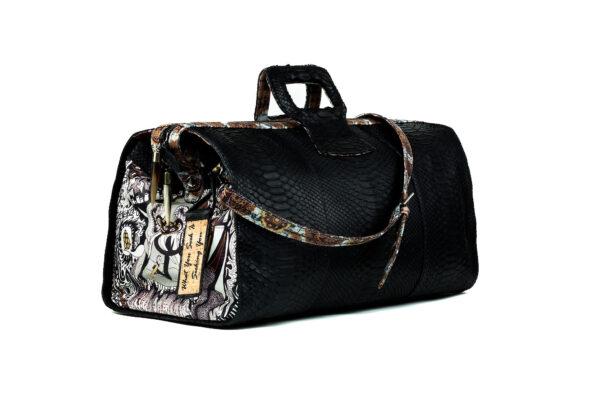 duffel-ganesh-python hand bag black