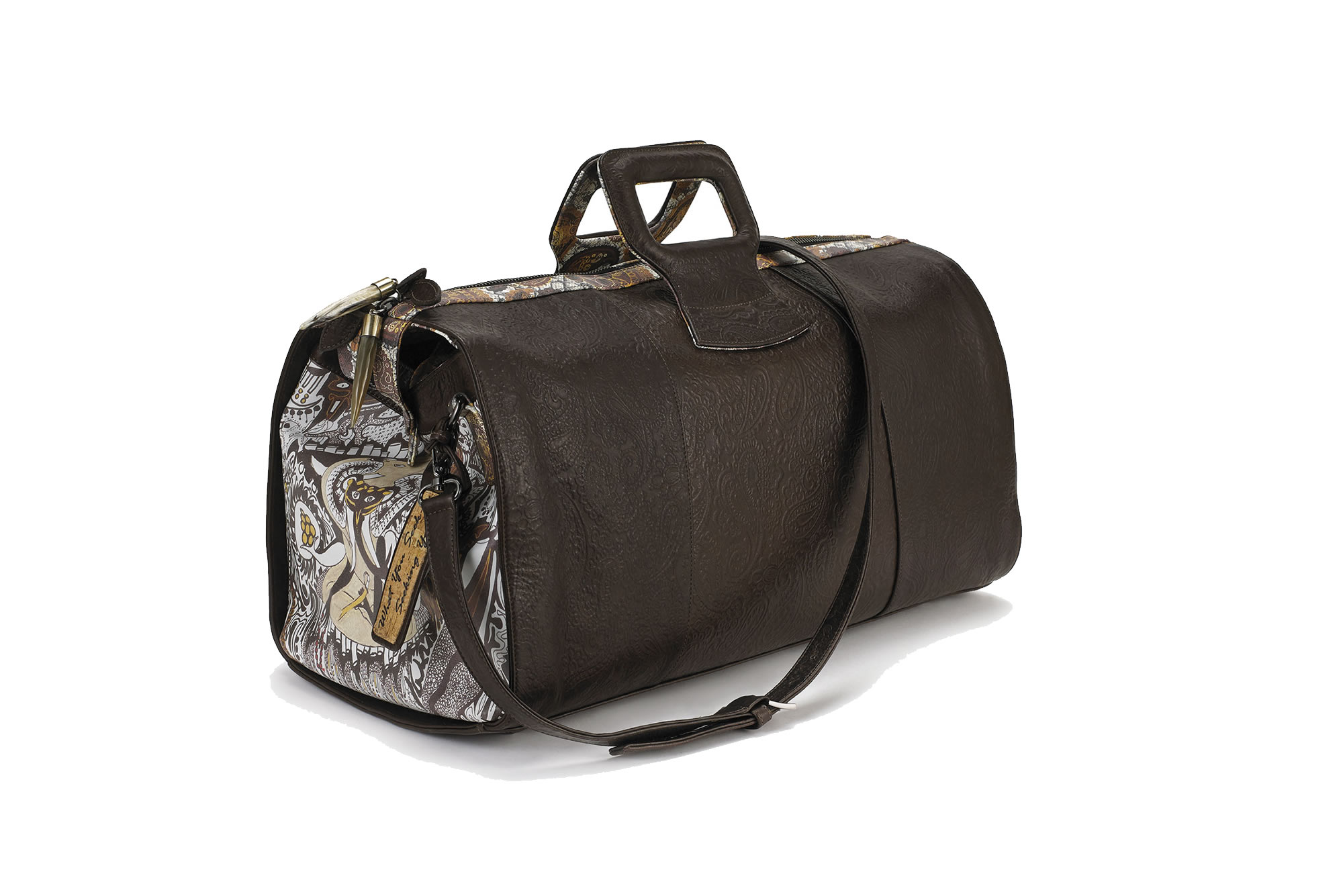 Fingerprint of Soul Tan Leather duffel hand bag