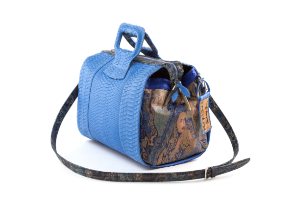 duffel hand bag python design pink blue