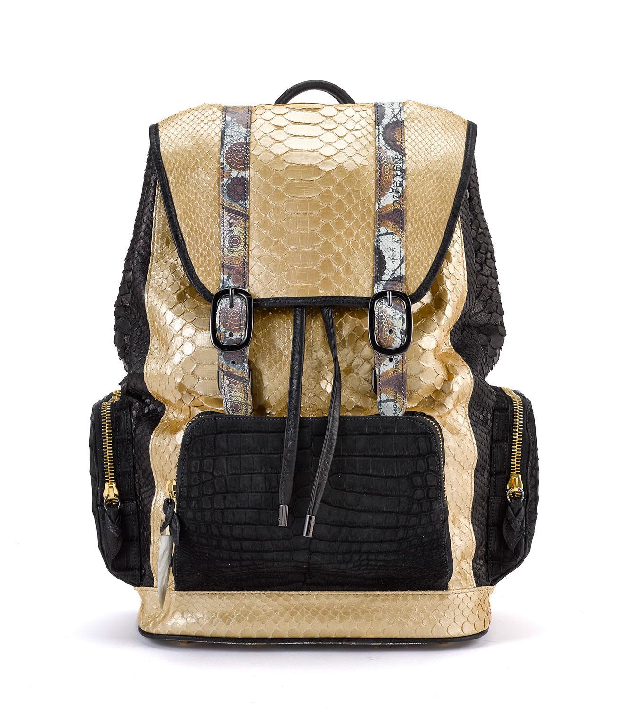 Fingerprint of the Soul Gold Python Black Side Backpack with Croco Pockets