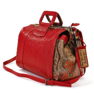 Lady B Red Embossed Paisley Leather