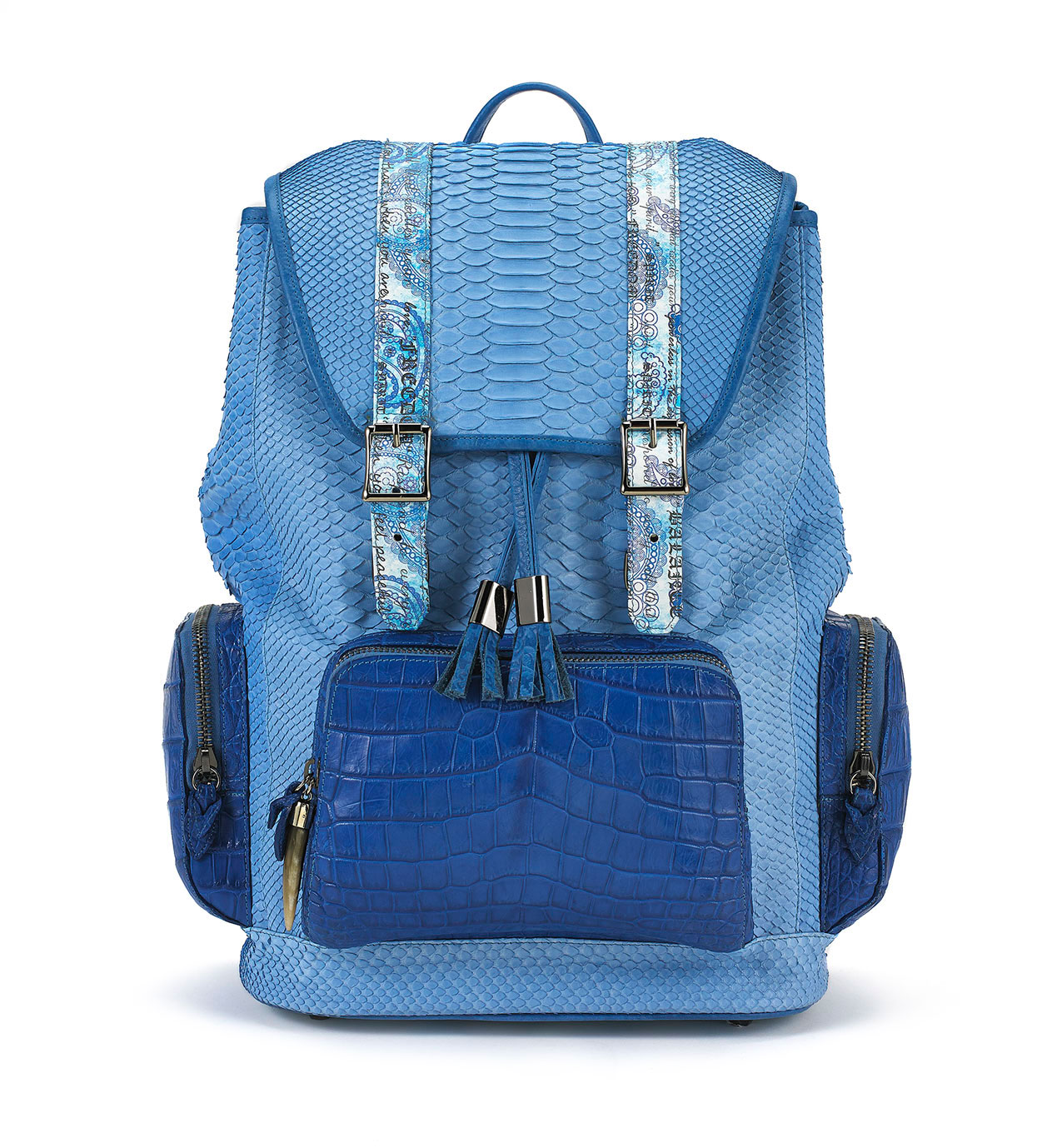 Miracles Blue Python Backpack with Croco Pockets
