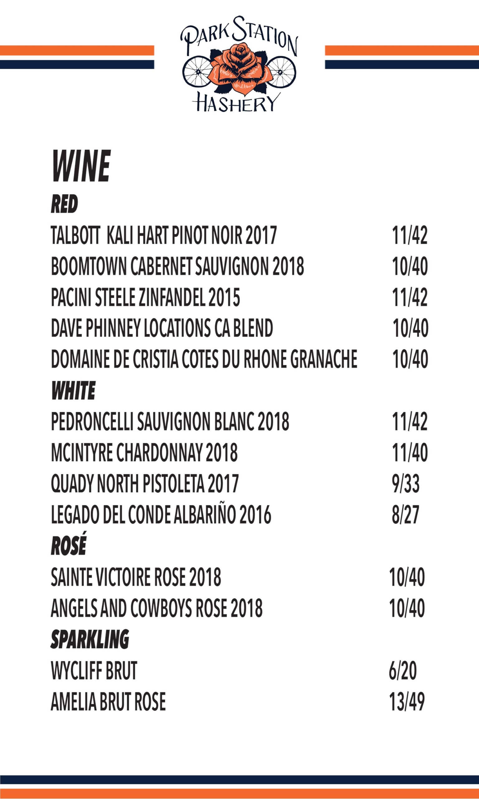 PSH Wine Menu