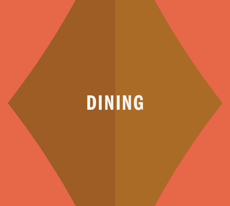Gold diamond that reads Dining