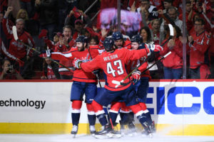 Caps finally hold a lead at home; tie series at 1-1