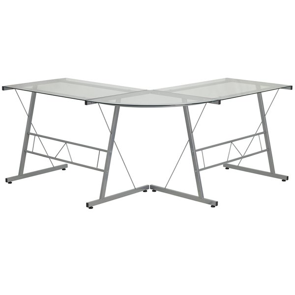 FF Glass L-Shape Computer Desk with Silver Frame Finish