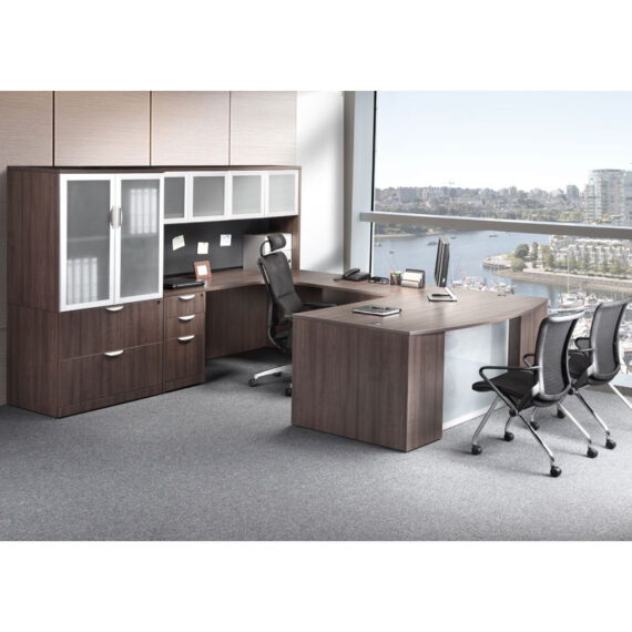 U Shape Desk with Storage Cabinet and Hutch