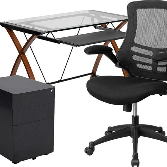 Work From Home Kit – Glass Desk with Keyboard Tray, Ergonomic Mesh Office Chair and Filing Cabinet with Lock & Side Handles