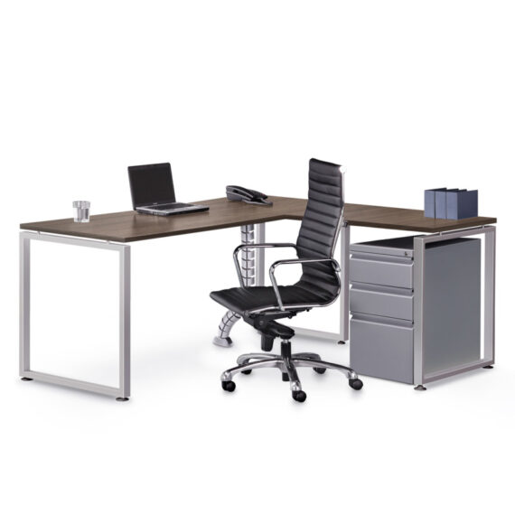 L shape desk, with O-leg, and Steel Box/Box/File pedestal Drawer