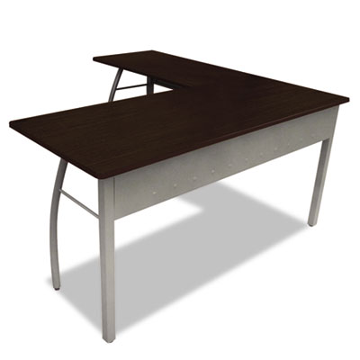 Trento Line L-Shaped Desk, 59.13w x 59.13d x 29.5h, Mocha/Gray