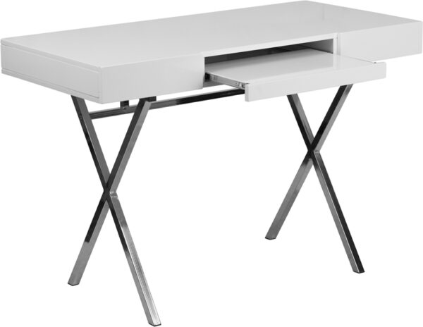 """44.25""""W x 21.625""""D White Computer Desk with Keyboard Tray and Drawers"""