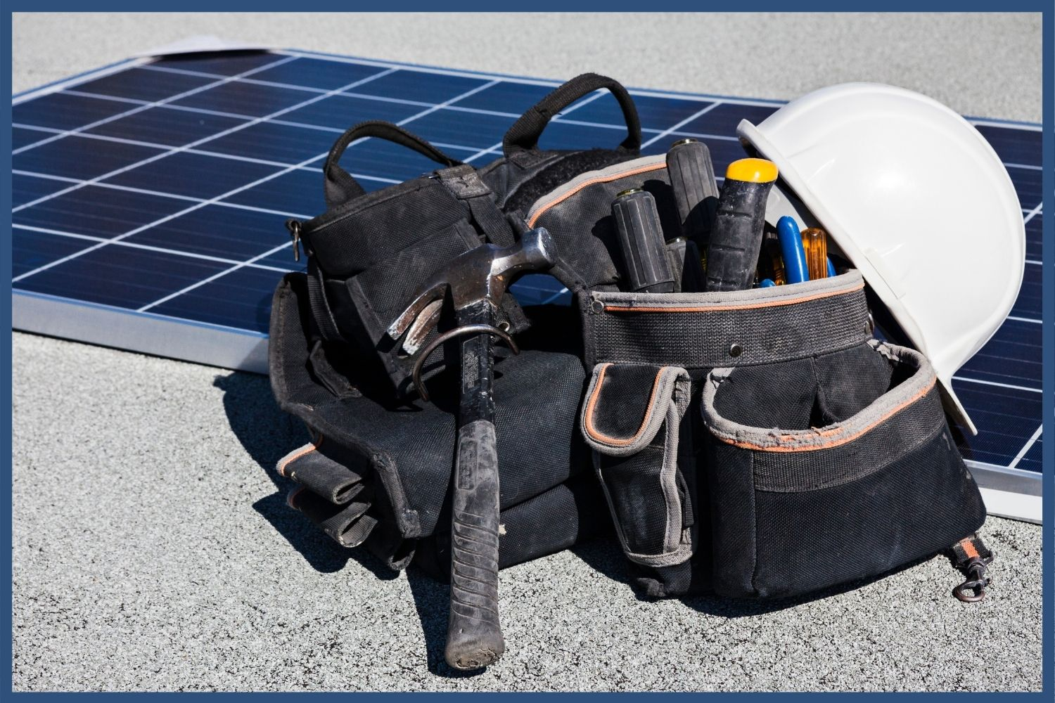 Solar panel with tools to install clean energy equipment