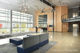 Lobby of Iowa Lakes Community College's Wind Energy facility