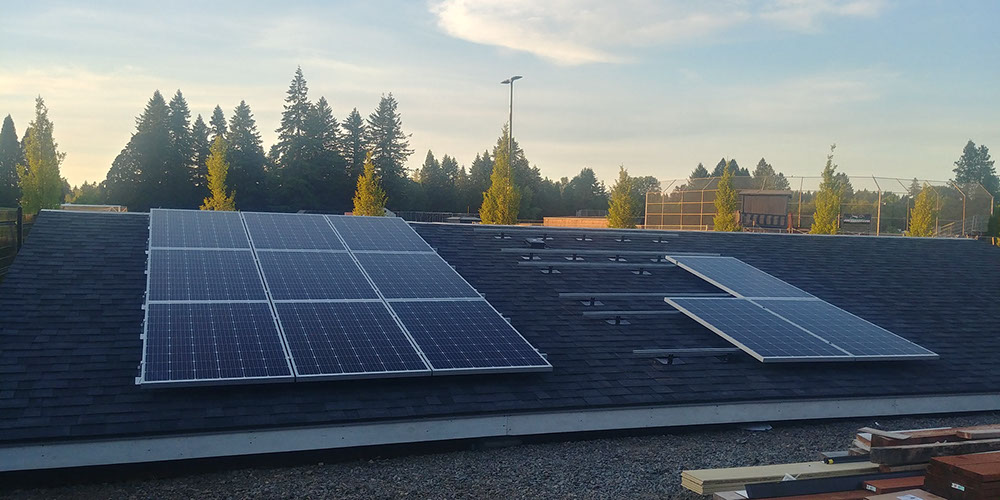 Solar panels partially installed at Clackamas Community College