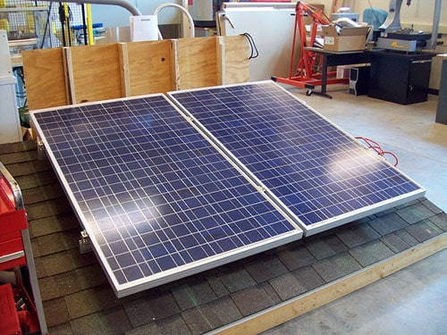 Solar panels on a demo roof at Heartland Community College