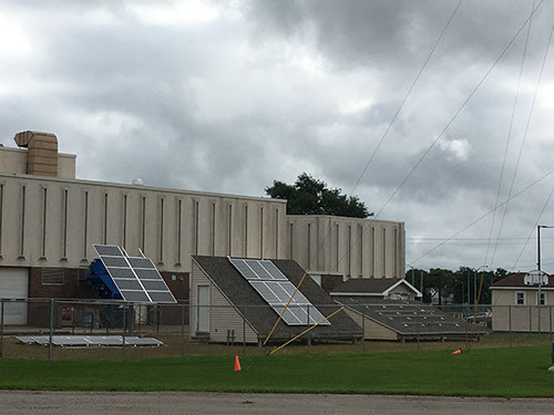 Building with solar panels at Madison Area Technical College