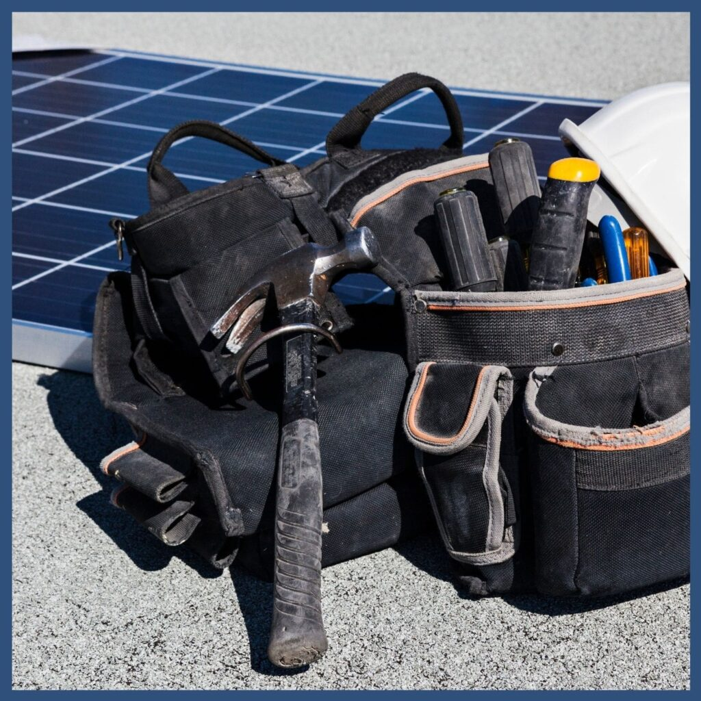 Renewable Energy Education Resources - Solar panel with tools to represent Solar Toolkit