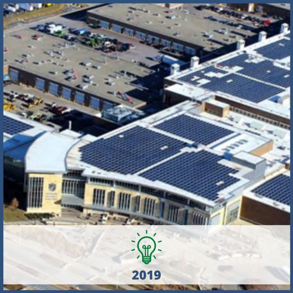Solar panels on a school