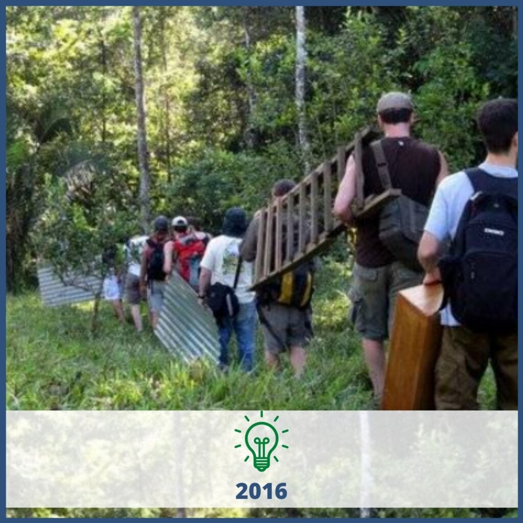 People carrying ladders and aluminum through forest area