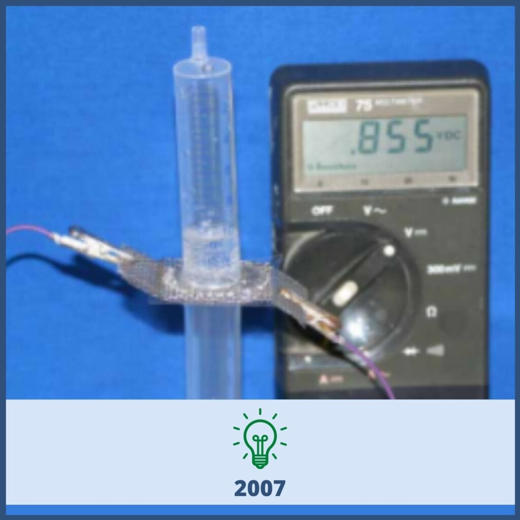 Syringe and volt measuring device
