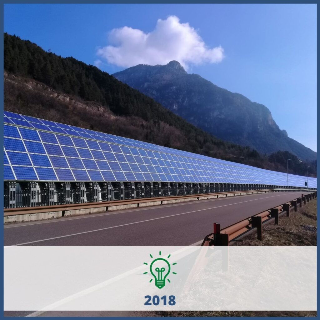 Long row of solar panels lining a road