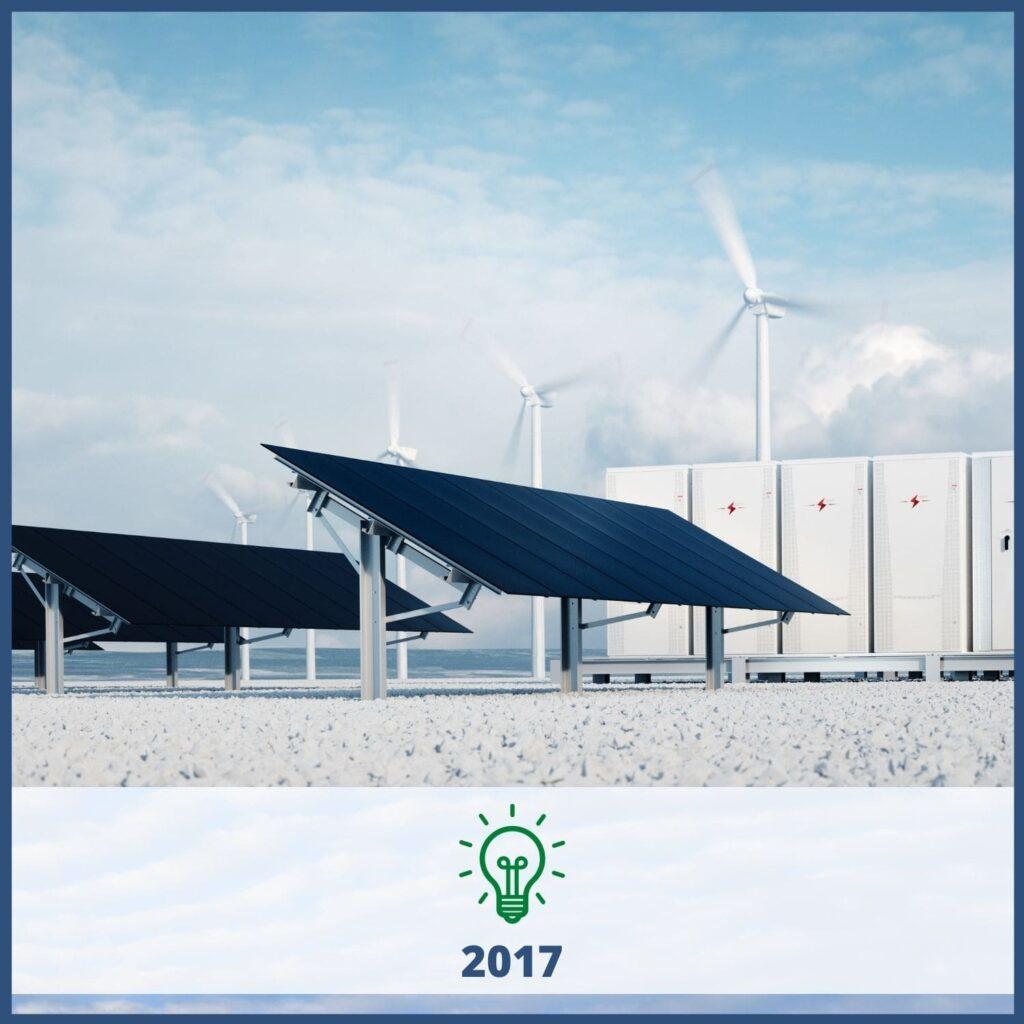 Solar panels, wind turbines, energy storage - 2017