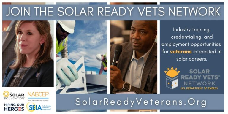 Images and text about the Solar Ready Vets Network