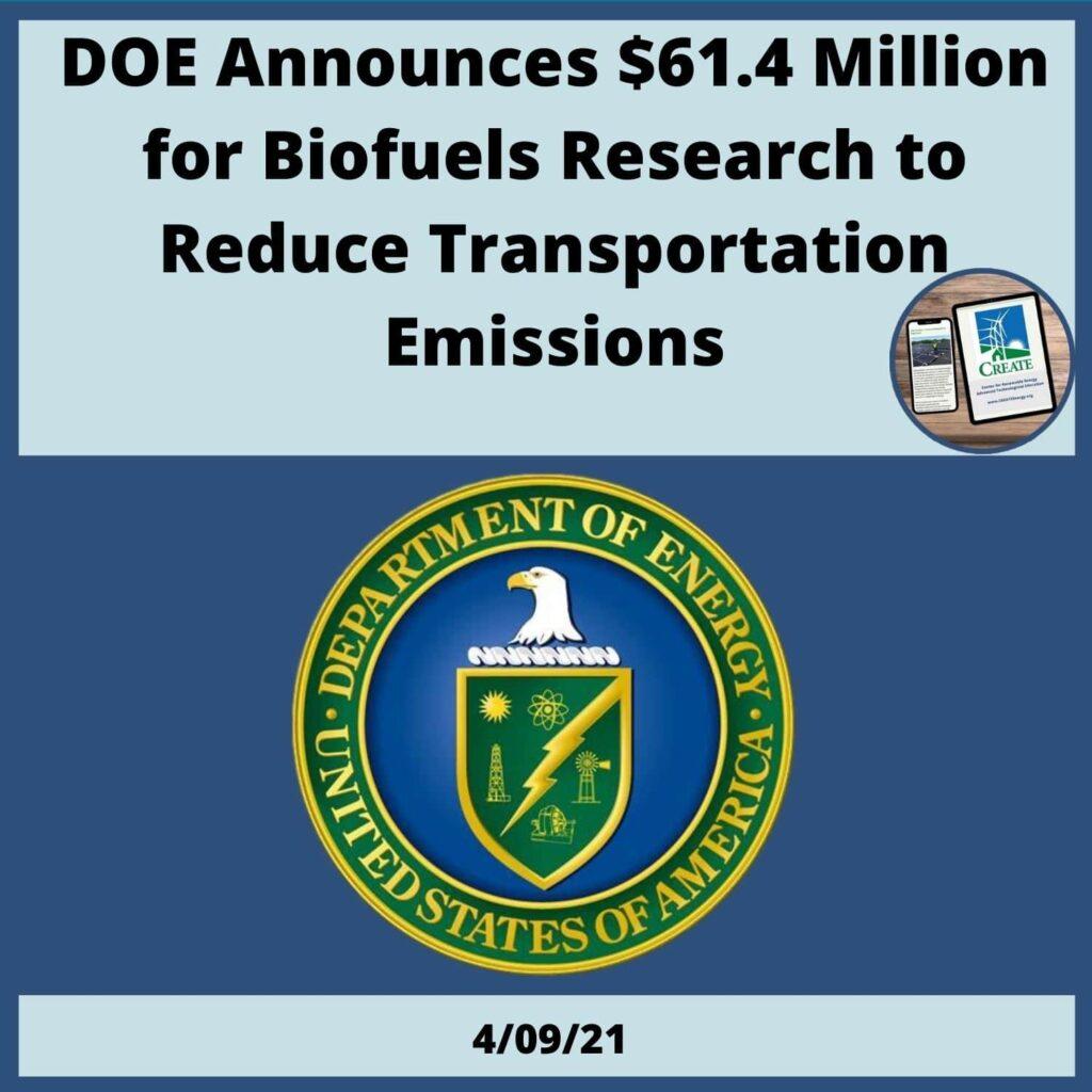 DOE Announces $61.4 Million for Biofuels Research
