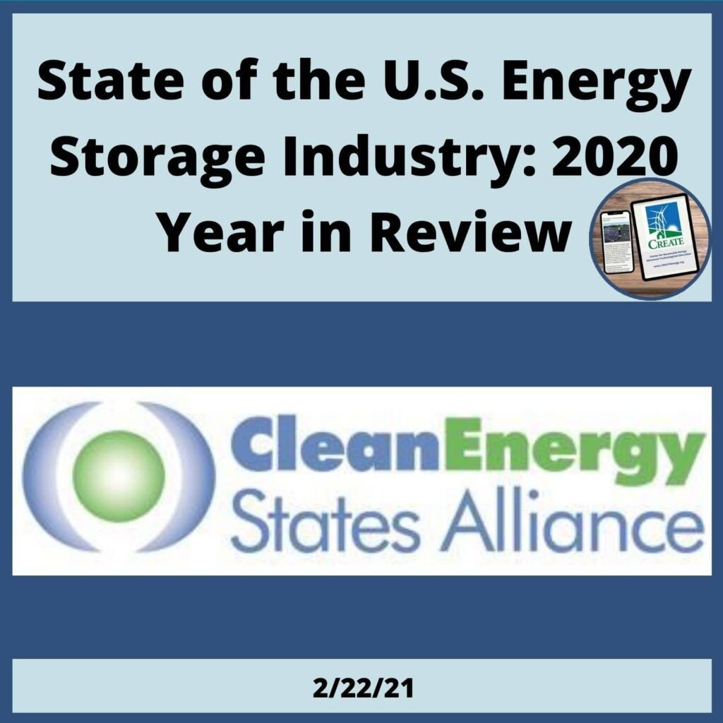State of the U.S. Energy Storage Industry: 2020 Year in Review