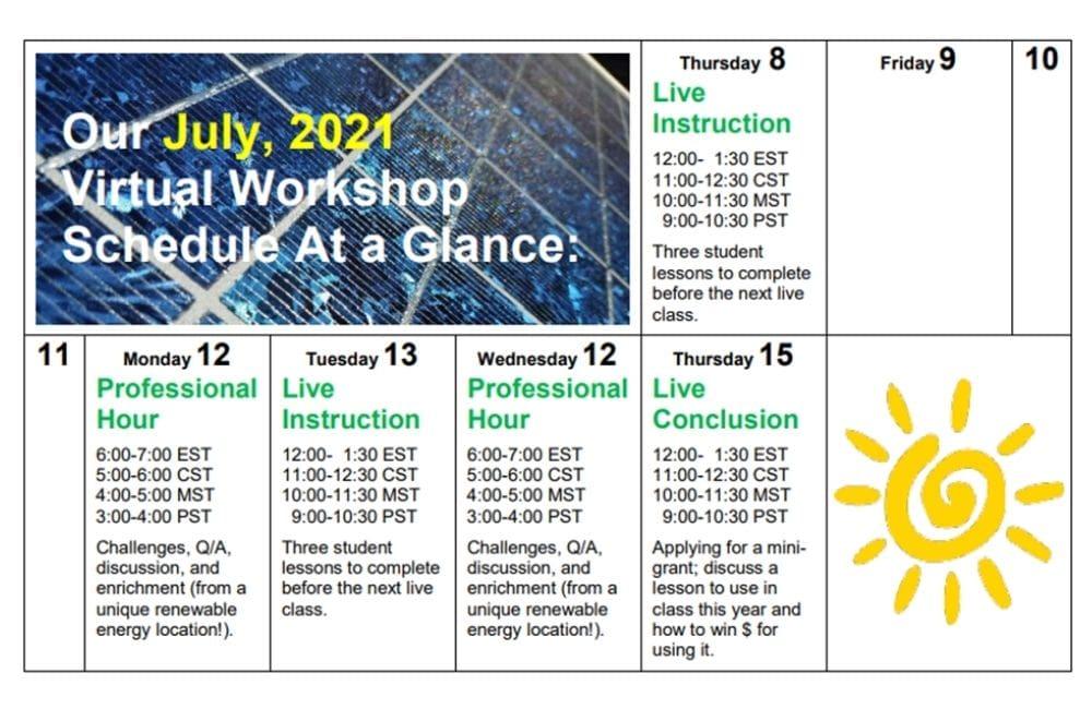 STEM Educator Solar Institute Schedule