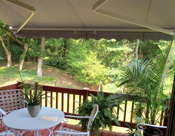 retractable awning on deck
