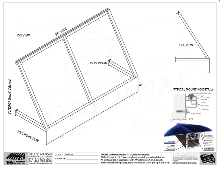 Awning Permit Drawing