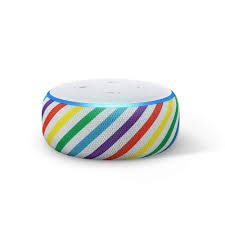 echo dot kids showing rainbow color designs on the side TITLE: echo dot kids