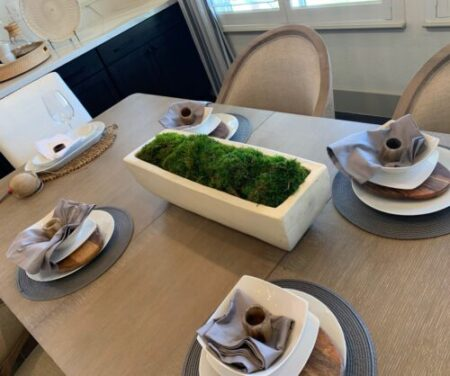 Mood Moss in long table planter
