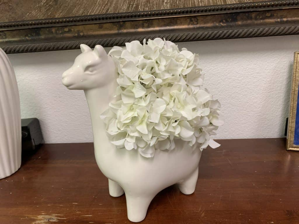 Contact Pacific Silkscapes for a White Hydrangea in Llama silk flower arrangements
