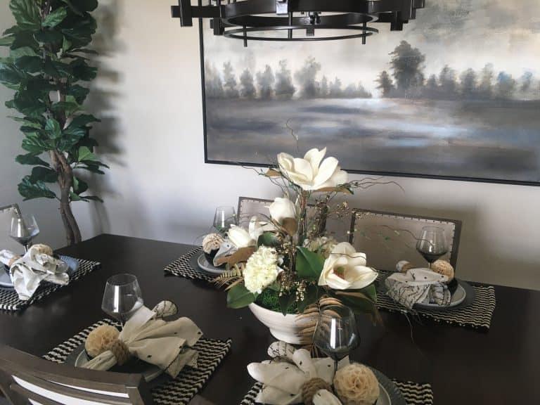 silk magnolia and hydrangea arrangement