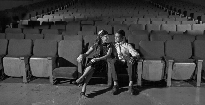 old movie theatre engagement photos vintage