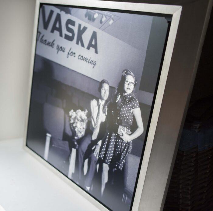 oklahoma engagment wedding metal framed black and white photo